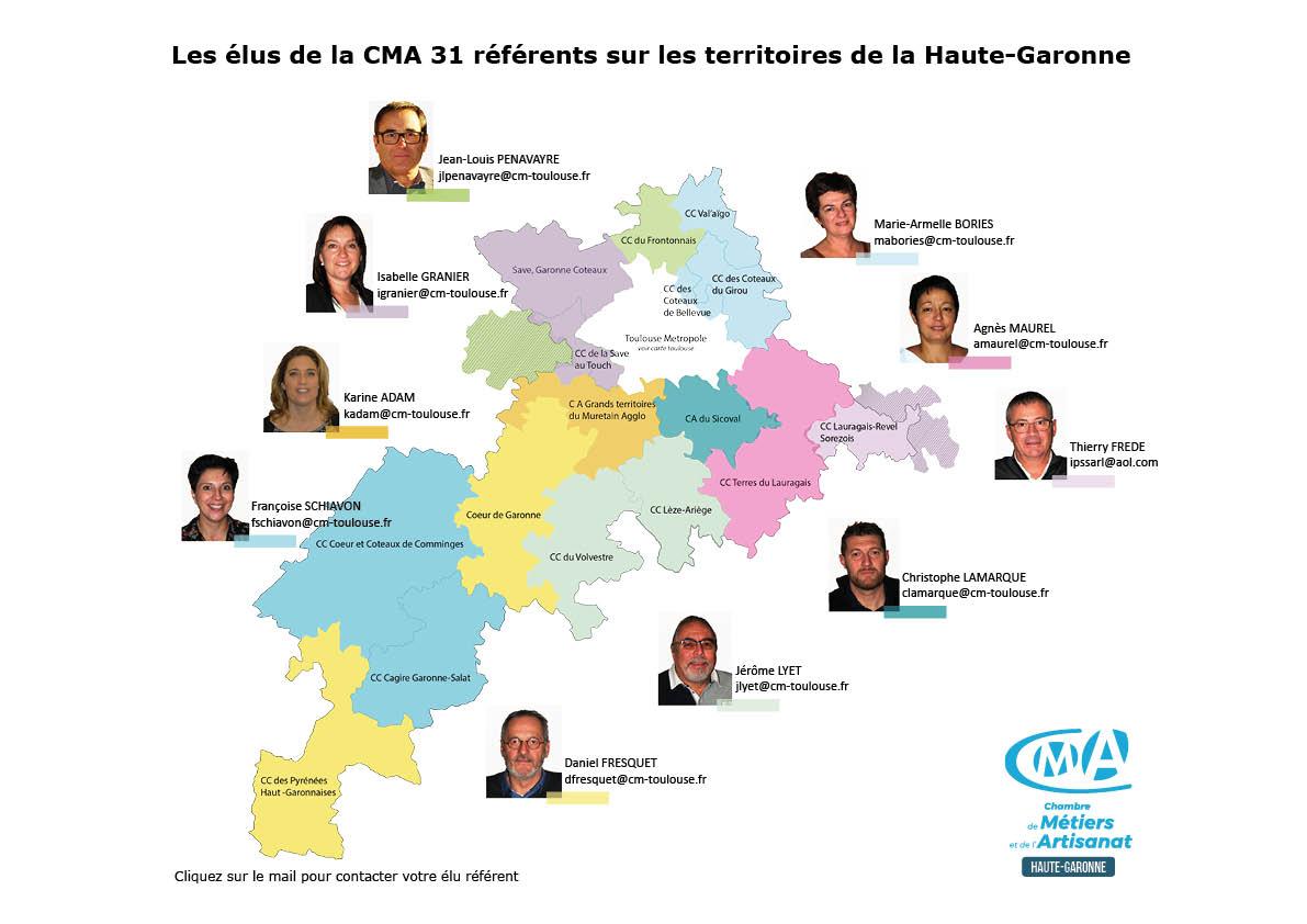 Carte élus CMA 31 / Territoires 31